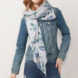 NWT LC CONRAD Floral Square Blanket Scarf